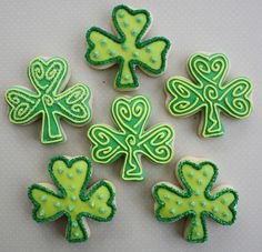 Green Decorated Shamrock Cookies for St. Patricks Day