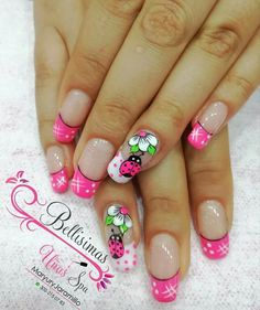 Diseño de ynaa Crazy Nail Art, Crazy Nails, Spring Nails, Summer Nails, Ladybug Nails, Sunflower Nail Art, Gel Nail Art Designs, French Tip Nails, Hot Nails