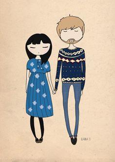 casal ilustrado.