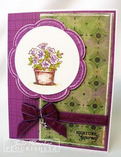 """Today is Focus Friday & today's focus is a stamp set called """"From the Garden"""" Julie Koeber created 3 wonderful cards. Here is card number 1! She used the petunias in the From the Garden set & some of the Bo Bunny Garden Girl paper. While this paper was from a kit, Flourishes still has some of that spunky card stock in the store. that is perfect for this time of year. Stamping her flowers (on all cards) with Versafine Sepia ink and heat setting, I let the watercolor fun begin! Check out her b..."""