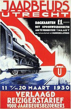 Poster by Henri C. Pieck - Jaarbeurs Utrecht met Spoorwegreductie 1930