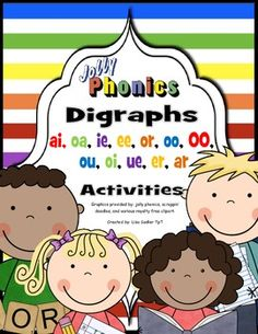 Reinforce the jolly phonics digraphs ai, oa, ie, ee, or, oo, 00,ou, oi, ue, er, ar with these activities. Each digraph has a separate worksheet at different skill levels.*Trace and cut - Students trace words with sounds matching the center of the flower.