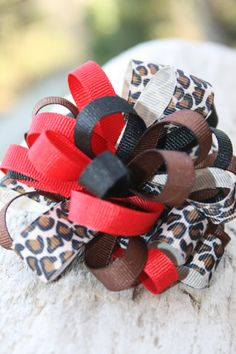 Leopard ribbon bow. Red black brown and by RockabillyBabyPlace, $4.00