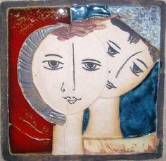 Πινακακια Pottery, Couple, Sculpture, Drawings, Face, Projects, Painting, Moon Art, Dishes
