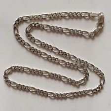 Vintage sterling silver Figaro link chain with lobster claw clasp Lot 2B