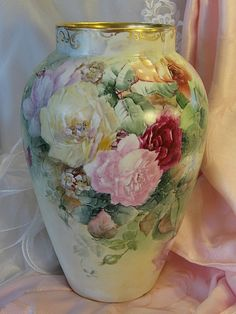 Limoges France Hand Painted Antique vase