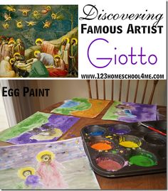 Discovering Famous Artist Giotto. Several hands on activities for a a Medieval Time (Middle Age) Unit for #homeschool #history or #art appreciation. How to make egg paint like Giotto used, drawing a castle, making a psaltery, woven placemats, book resources, and more!