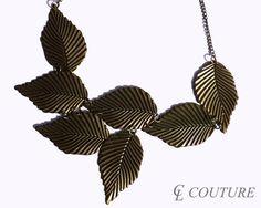 Antique Bronze Leaf Bib Statement Choker Necklace
