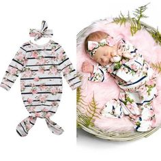 Vintage Striped Floral Dress Pajamas With Matching Headband from kidspetite.com! Adorable & affordable baby, toddler & kids clothing. Shop from one of the best providers of children apparel at Kids Petite. FREE Worldwide Shipping to over 230+ countries ✈️ www.kidspetite.com #infant #pajamas #newborn #baby #sleep #girl Baby Girl Pajamas, Baby Girl Newborn, Baby Girls, New Fashion, Kids Fashion, Floral Stripe, Cotton Style, Sleeping Bag, Baby Patterns