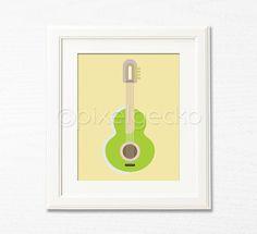 Modern Guitar Art Print  Olive and Cream Modern Home by pixelgecko, $14.90