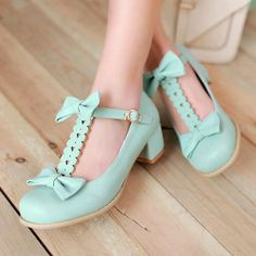 Buy New 2016 Women's Vintage Oxford Flat Shoes Mint Cute Lolita Bow Leather Fashion Shoes Low Heel Green Buckled Cosplay Harajuku Spring Summer Cheap Shoes at Wish - Shopping Made Fun Mid Heel Sandals, Low Heel Shoes, Shoes Sandals, T Bar Shoes, Cute Shoes, Me Too Shoes, Punk Fashion, Leather Fashion, Fashion Shoes