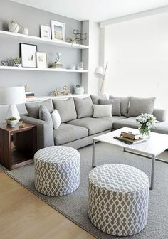 Living in an apartment, or in an older home with tiny rooms, can present a challenge: how to make your limited space seem larger. Try these 80 Stunning Modern Apartment Living Room Decor Ideas And Remodel. Small Living Rooms, Home And Living, Cozy Living, Living Area, Small Living Room Layout, Living Room Grey, Grey Room, Small Living Room Ideas On A Budget, Living Room Wall Ideas