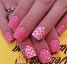 Stunning acrylic nails gel nails extensions pink and white stripes beautiful creation designs sparkles