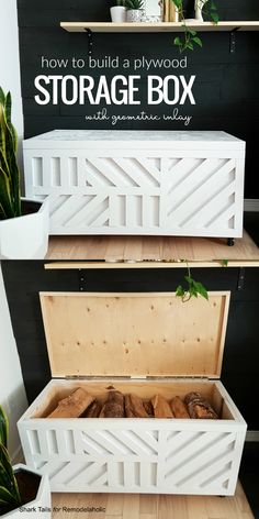 Easy Plywood Storage Box with Geometric Inlay – Diy Furniture Ideas Plywood Storage, Plywood Boxes, Diy Rangement, Diy Wood Projects, Diy Home Projects Easy, Diy Storage Projects, Diy Projects Apartment, Diy Projects For Bedroom, Diy Projects For Beginners
