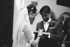 #wedding #pictures #ceremony #ring #bride #bridal #veil #groom #black #white #photography #edopaul