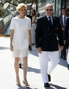 04ced49bb7 June 2014 - Princess Charlene of Monaco and Prince Albert II of Monaco  arrive for the inauguration of the new Yacht Club of Monaco. The Royal  Couturier