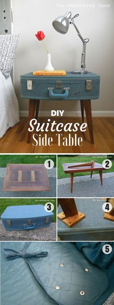 Check out how to make an easy DIY Suitcase Side Table for bedroom decor @istandarddesign