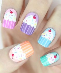 40 Awesome Nail Art Ideas by Hannah Weir - List Inspire Trendy Nail Art, Cute Nail Art, Cute Nails, My Nails, Nail Art Cupcake, Nail Art Designs, Birthday Nail Art, Manicure, Nails For Kids