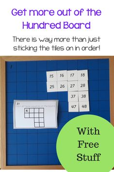The 100 board is used to help students learn numbers to 100 but did you know you can do a lot more than that with it?  The simplicity of this board hides the variety of learning you can do with it.  Commonly children empty out the tiles that come with the hundred board and put them onto the correct place on the board using a control board to check their work. However with a couple of creative tweaks you can also use it to help teach place value and encourage mathematical thinking. Montessori Math, Montessori Elementary, Montessori Materials, Elementary Math, Montessori Education, Homeschool Math, Fun Math, Math Games, Maths