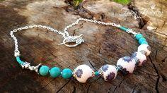 Collana perle pasta polimerica e pasta di turchese modellata  a mano , by Evangela Fairy Jewelry, 17,00 € su misshobby.com