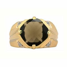 Large Diamond and Gold Men's Antique Cushion Cut Smoky Quartz Ring Available Exclusively at Gemologica.com