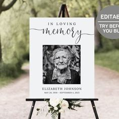 Funeral Welcome Sign Celebration Of Life Poster In Loving | Etsy Funeral Posters, Life Poster, Funeral Memorial, Fancy Fonts, Sign Templates, Simple Wedding Invitations, Prayer Board, In Loving Memory, Decoration