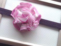 Pink and White Satin Ruffle Headband Baby Headband by PlumPolkaDot, $8.00
