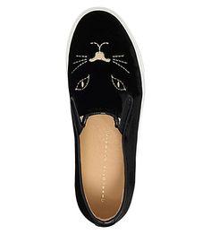 CHARLOTTE OLYMPIA - Cool Cats velvet slip-on trainers | Selfridges.com