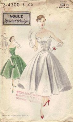 Vogue Special Design 1950s Sewing Pattern Full Skirt Dress Strapless Bare  Shoulder Top Movie Star Hollywood Fashion Rare Unusual 6978c3e8826