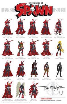 Todos los trajes que Spawn ha usado a lo largo de su historia en cómic