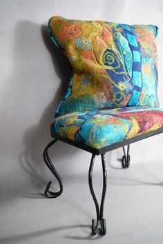 Nuno felted pillow a sugarplum original Felt Cushion, Felt Pillow, Wet Felting Projects, Felting Tutorials, Textile Fiber Art, Fibre Art, Provence Style, Felt Decorations, Funky Furniture