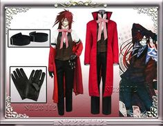 #BestPrice #Fashion Anime Black Butler Death Shinigami Grell Sutcliff Cosplay Red Uniform Outfit+Glasses Carnaval Halloween Costumes for…