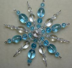 crystal and aqua beaded snowflake decoration