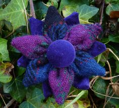 HARRIS TWEED Flower Corsage Brooch Handmade in the Outer Hebrides