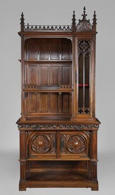 Antique neo-gothic style dresser made out of carved walnut house in 2019 ан Gothic Furniture, French Furniture, Antique Furniture, Fireplace Accessories, Home Decor Accessories, Walnut Bookcase, Antique Mantel, Modern Garage, Architectural Antiques