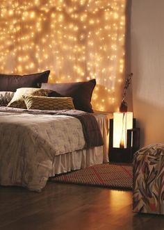 lights behind bed