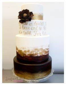 Gold and chocolate brown watercolor cake with hand painted calligraphy vows and gum paste flower fondant) Cake Icing, Fondant Cakes, Eat Cake, Beautiful Wedding Cakes, Beautiful Cakes, Amazing Cakes, Elegant Wedding, Metallic Cake, Gold Cake