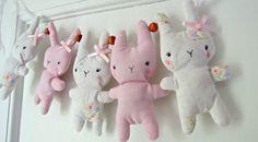 Bitsy Bunny Fabric Garland Vintage Pastel Pink by RubyRedcrafts, $18.00