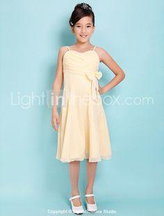 A-line Spaghetti Straps Knee-length Chiffon Junior Bridesmaid Dress - US$ 99.99