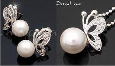 Tiara Butterfly Earrings & Necklace Set