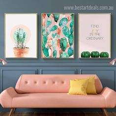 Everyone love this botanical art style catcus canvas print set featuring their living room walls.  #roomdecoration #interiorspace #artgoals #wallartset Pink Kitchen Walls, Kitchen Wall Art, Home Decor Kitchen, Kitchen Dining, Living Room Pictures, Wall Art Pictures, Modern Wall Decor, Modern Room, Dining Room Art