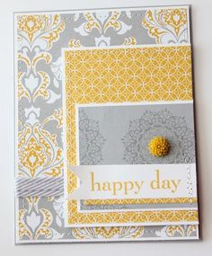 Look at all the delicious layers of grey and yellow!!  Ribbon and stitching and banners and borders all make this card the good kind of crazy!  DIY for a great handmade card!