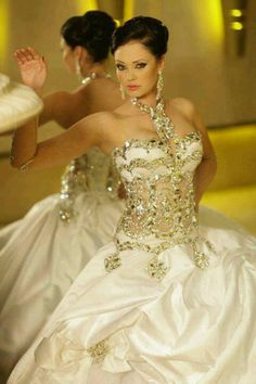 There are many ways to make a wedding dress look very beautiful. One of them is by putting a lot bling on it. Wedding dresses designed with a lot of bling are very gorgeous. A bride will look more … Beautiful Wedding Gowns, Dream Wedding Dresses, Bridal Dresses, Beautiful Dresses, Gorgeous Dress, Elegant Wedding, Gorgeous Gorgeous, Awesome Dresses, Bridal Bouquets