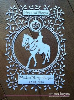 Mounted troops papercut commission by Emma Boyes