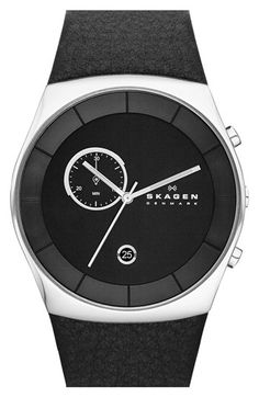 Free shipping and returns on Skagen 'Havene' Chronograph Leather Strap Watch, 42mm at Nordstrom.com. A single chronograph eye and complementary date window decorate the dial of a clean, modernist watch set atop a textured-leather strap.