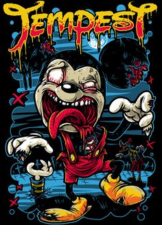 Zombie Mouse x Tempest on Behance Graffiti Characters, Zombie Art, Dope Art, Psychedelic Art, Graffiti Art, Graffiti Wallpaper, Horror Art, Doraemon, Cartoon Art