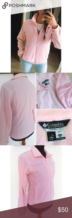 🆕! Pale Pink Zip Fleece This gorgeous pale pink fleece zip up is just what you need! Two outer pockets and one secret pocket with a zipper on the inside. Youth size 14/16 or an XS for adults! Columbia Jackets & Coats