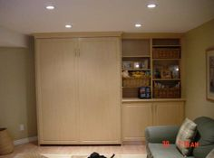 Closed wall bed (closed) Wall Beds, Custom Cabinetry, Murphy Bed, Two Bedroom, Storage Solutions, Tall Cabinet Storage, Shelving, Furniture, Home Decor