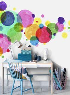 Colourful+dots+wall+mural