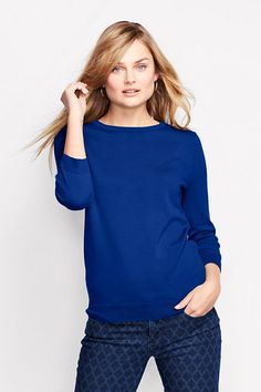 Supima 3/4-sleeve Crew Sweater